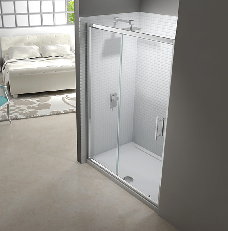 Beta Heat Electric 1150 X 600mm Curved Chrome Heated Towel: Merlyn 6 Series Framed Sliding Shower Door 1200mm