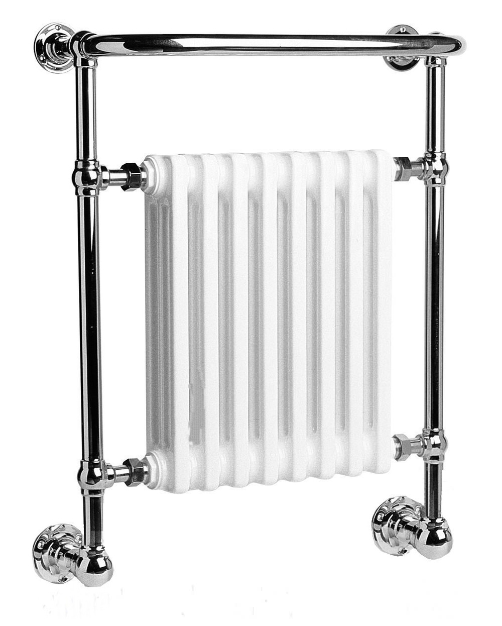 Chrome Towel Rack Wall Mounted Part - 28: DQ Heating Croxton Chrome Heated Towel Rail 846 X 798mm - Wall Mounted