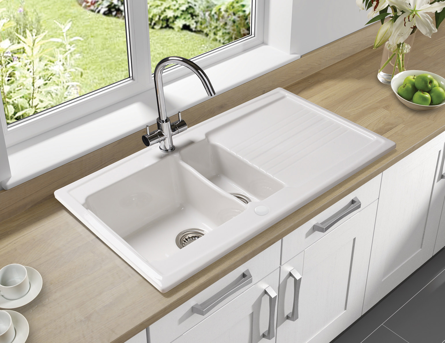 image of astracast equinox 1 5 bowl white ceramic inset kitchen sink