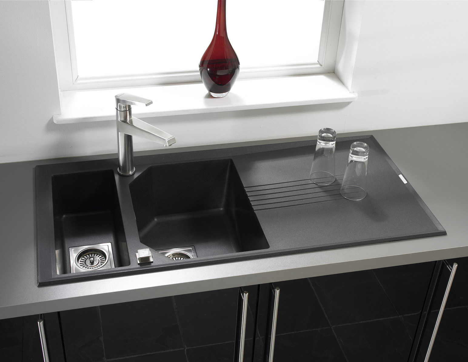 ... image of Astracast Helix 1.5 Bowl Composite ROK Metallic Inset Sink
