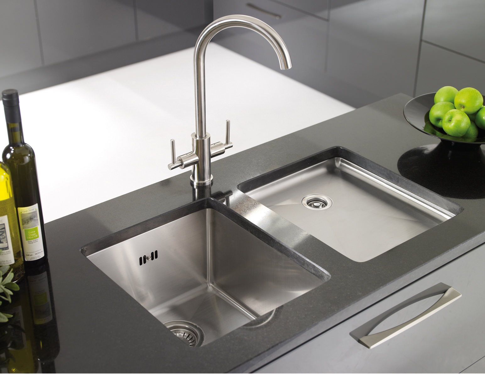 ... Medium Bowl Brushed Stainless Steel Flush Inset Sink - OXL1XBHOMEPK