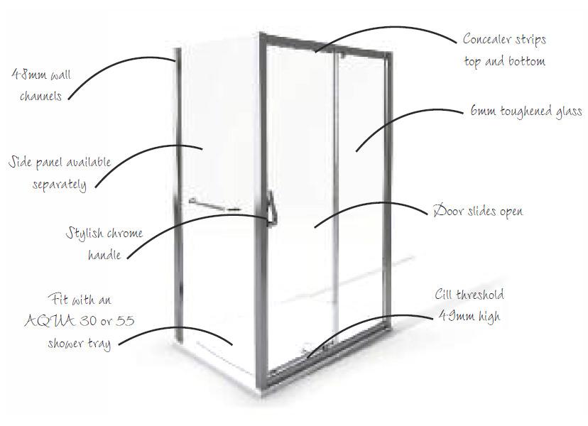 Aqua 6 Sliding Shower Door 1100mm Polished Silver 1160713