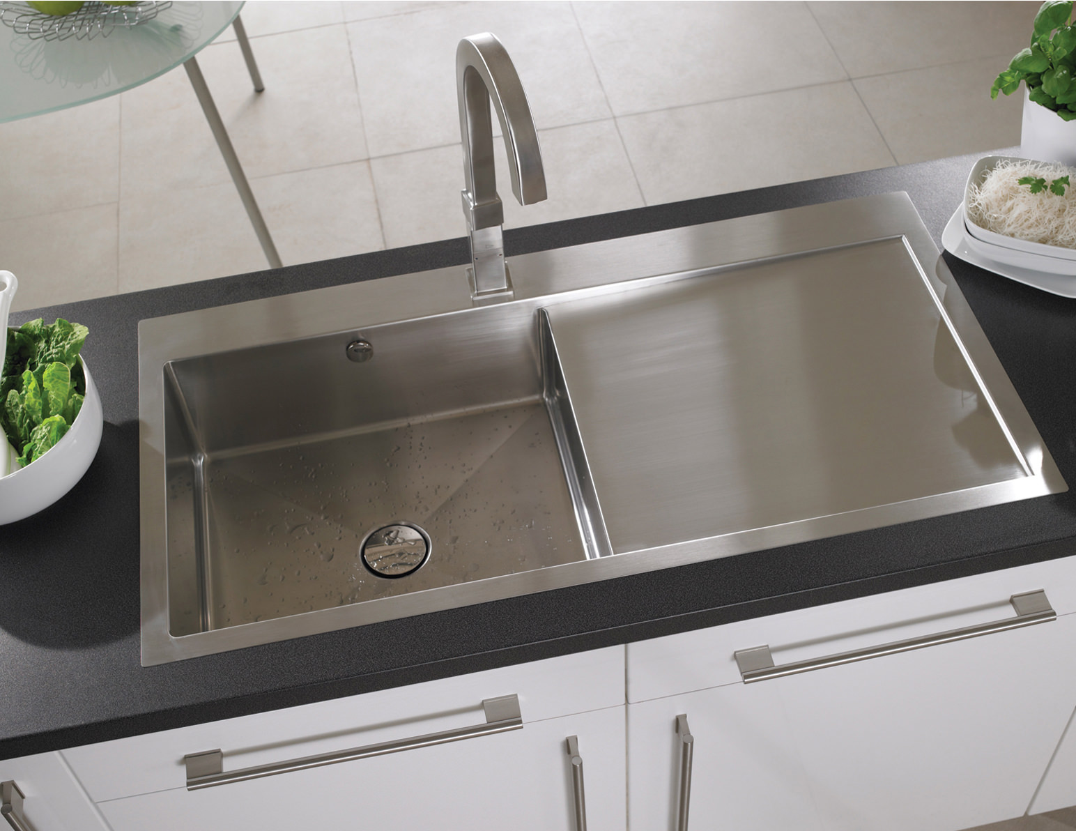 Best Stainless Steel Sinks Uk : ... Vantage 1.0 Bowl Brushed Stainless Steel Inset Sink And Tap Pack