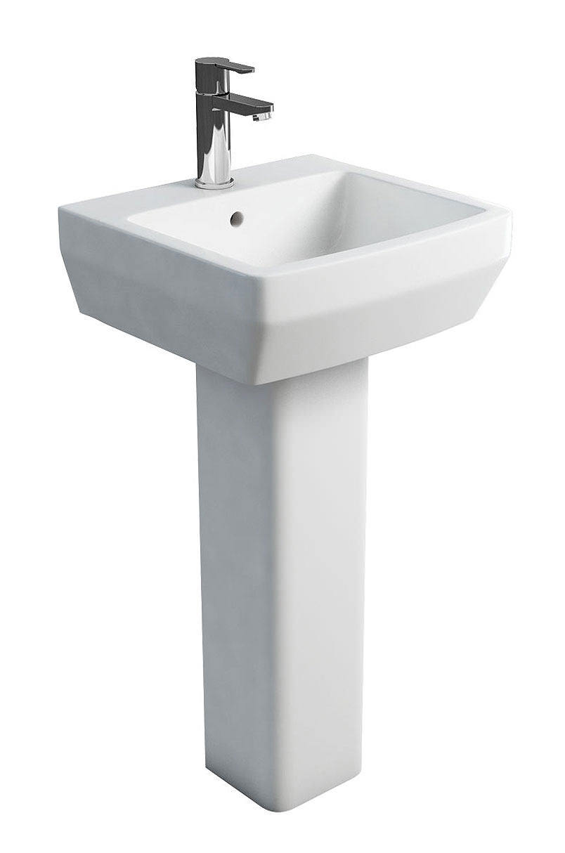 Britton Cube S20 Square 500mm Wash Basin And Full Pedestal