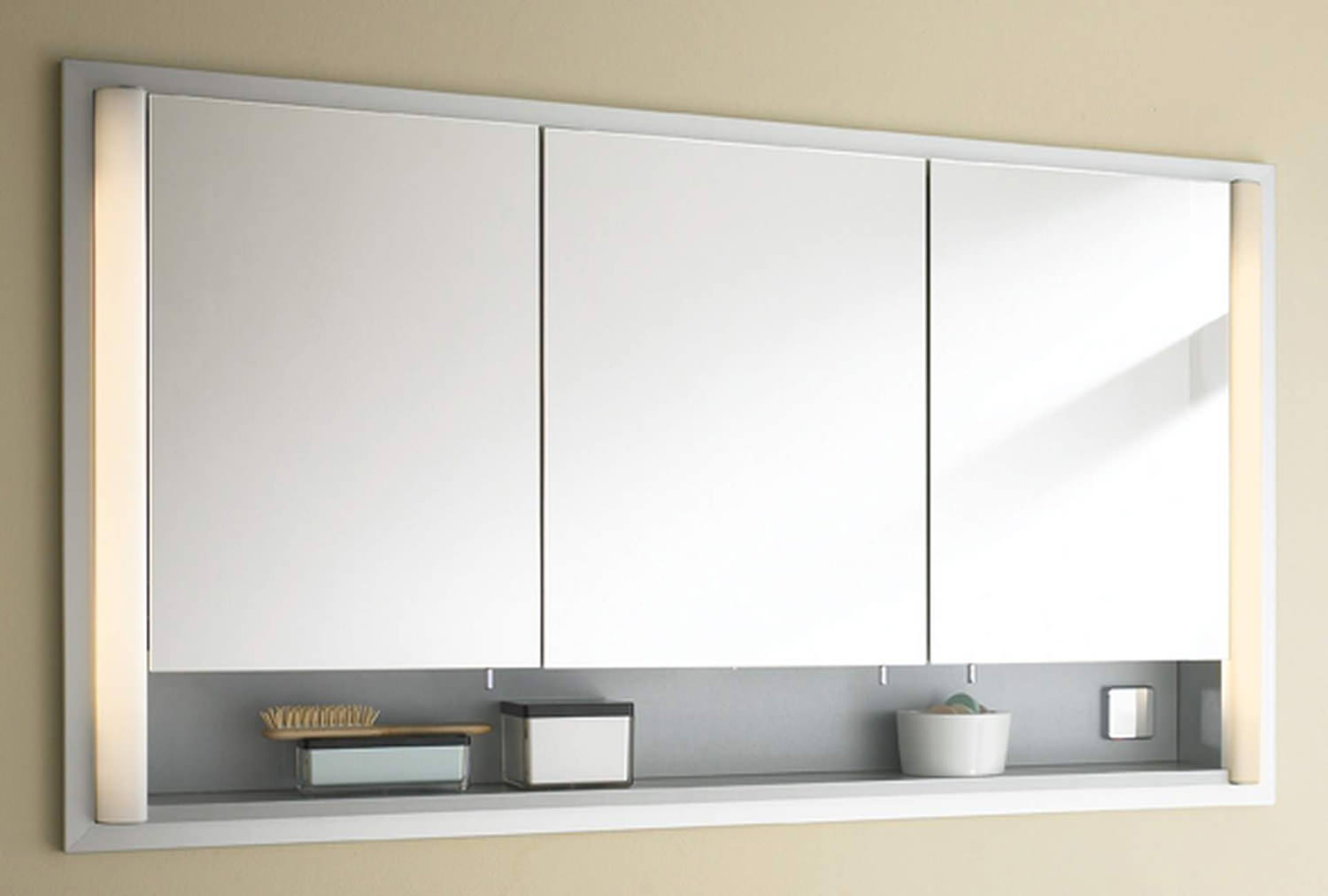 Duravit 1200mm 3 Door Mirror Cabinet And Wooden Opened