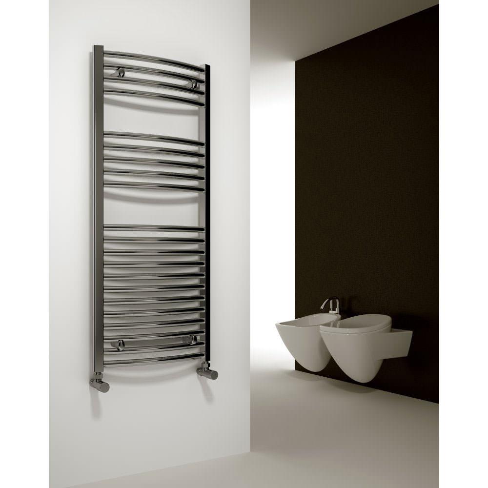 Bathroom heated towel radiators -  Alternate Image Of Reina Diva Curved Heated Towel Rail 600 X 1200mm Chrome