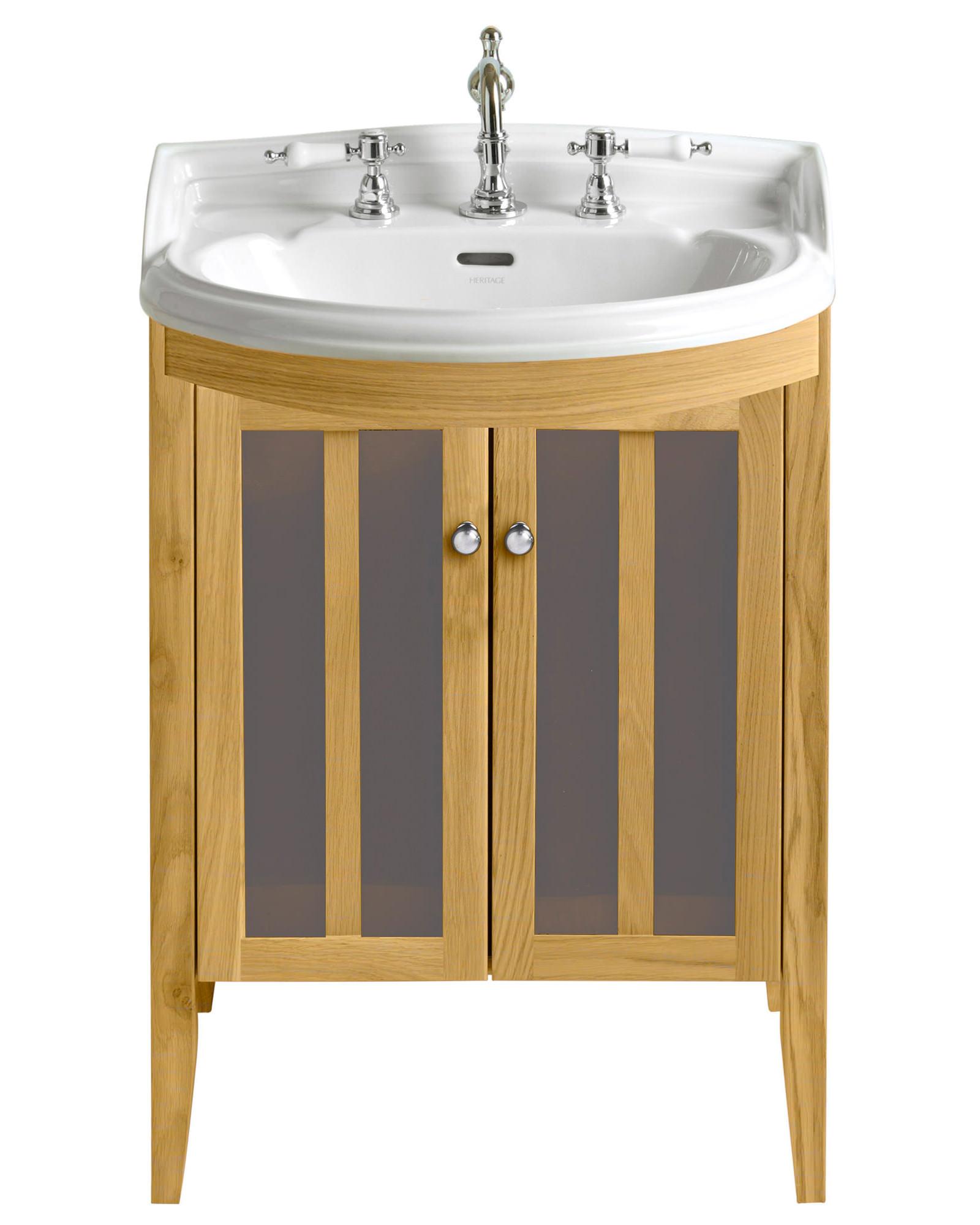 Heritage Bathroom Vanity: Heritage Hidcote Oak Bowfront Medium Vanity Unit