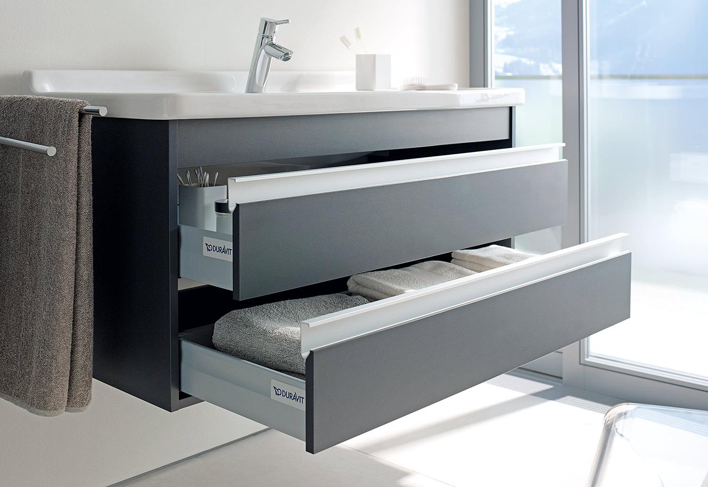 2 Drawer Wall Mounted Vanity Unit, Bathroom Vanity Drawers