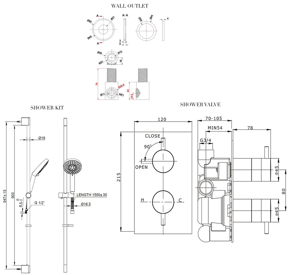 crosswater kai thermostatic valve with 5 mode kit and wall outlet