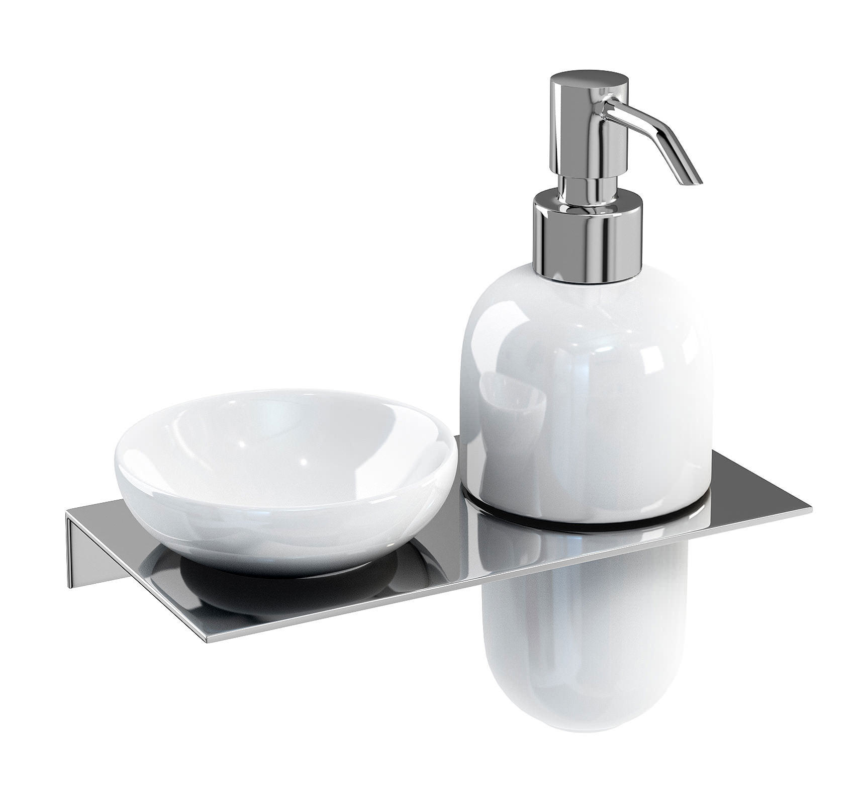 Britton stainless steel shelf with soap dish and soap Dish soap dispenser