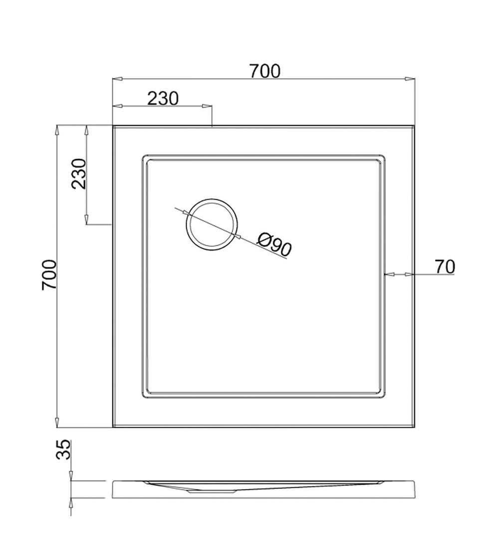 Shower Tray 700mm x 1000mm Shower Tray 700 x 700mm