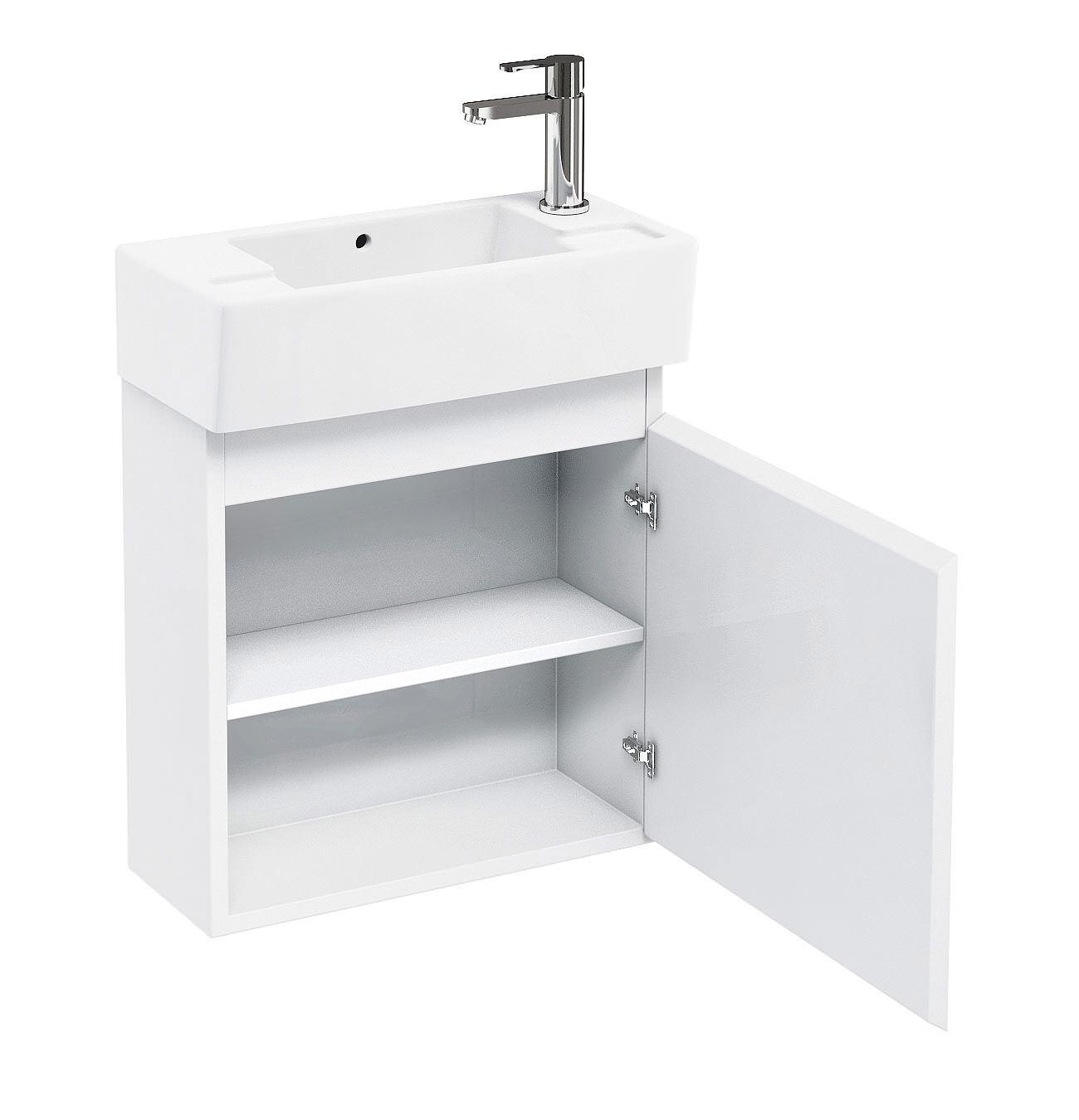 Britton aqua cabinets narrow wall hung unit with rh washbasin for Narrow bathroom unit