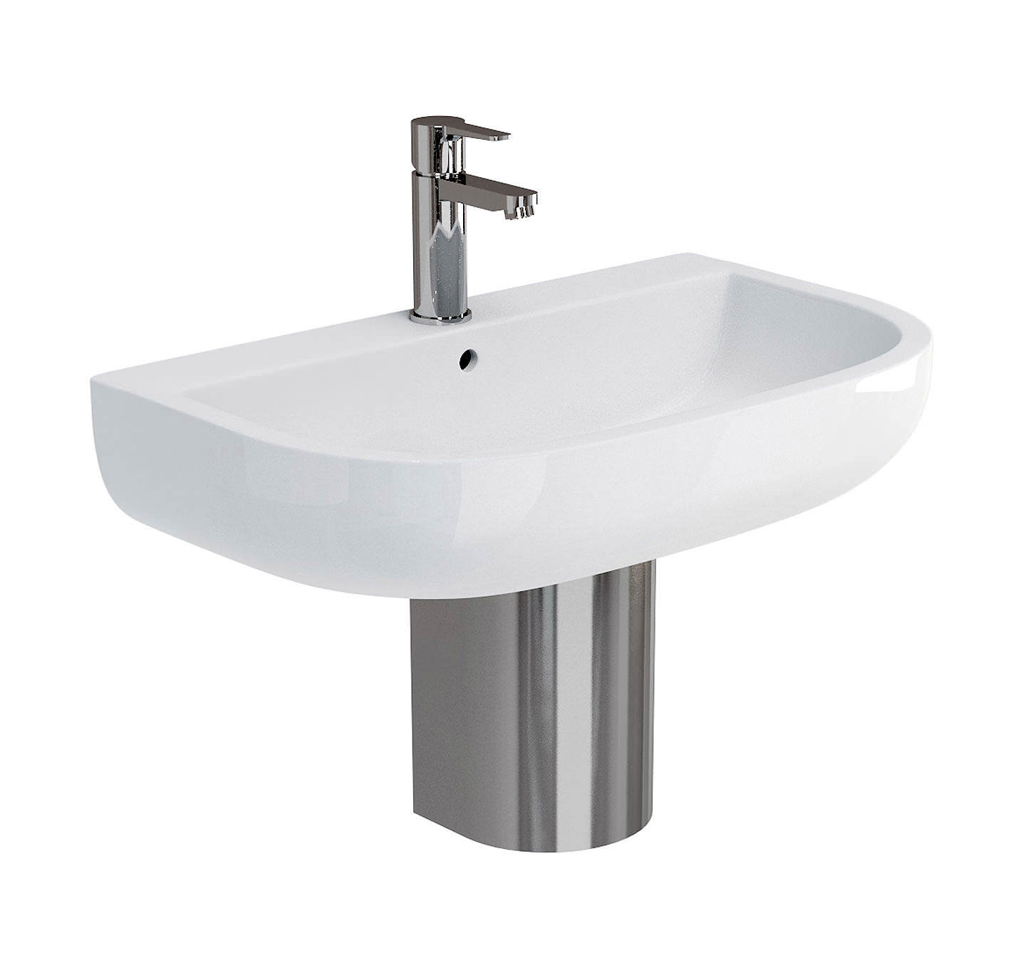 Britton Compact 650mm Basin With Stainless Steel Semi Pedestal Cm0003
