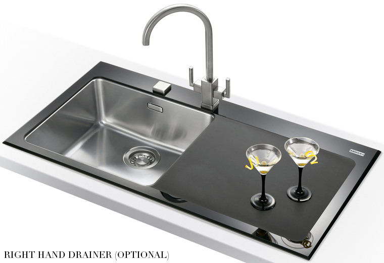 Franke Black Glass Sink : ... of Franke Kubus Designer Pack KBV 611 Black Glass Inset Sink And Tap