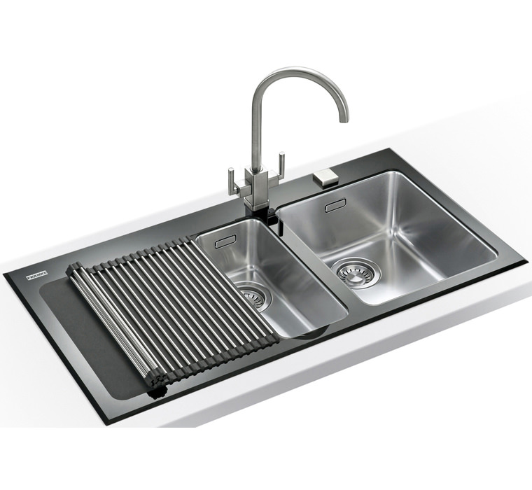 Franke Black Kitchen Sink: Franke Kubus KBV 651 Black Glass 1.5 Bowl Inset Kitchen Sink