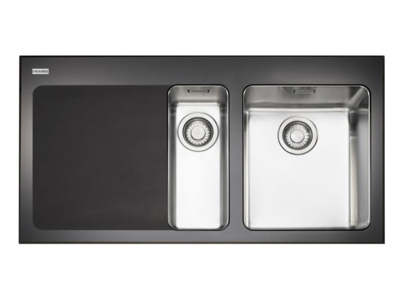 Franke Black Glass Sink : Franke Kubus KBV 651 Black Glass 1.5 Bowl Inset Kitchen Sink Image