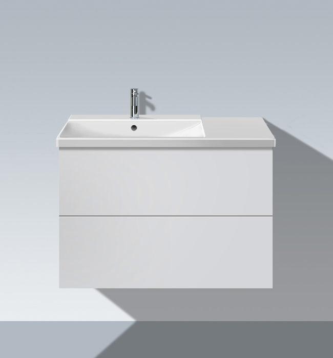duravit l cube 820mm unit with p3 comforts bowl on left. Black Bedroom Furniture Sets. Home Design Ideas