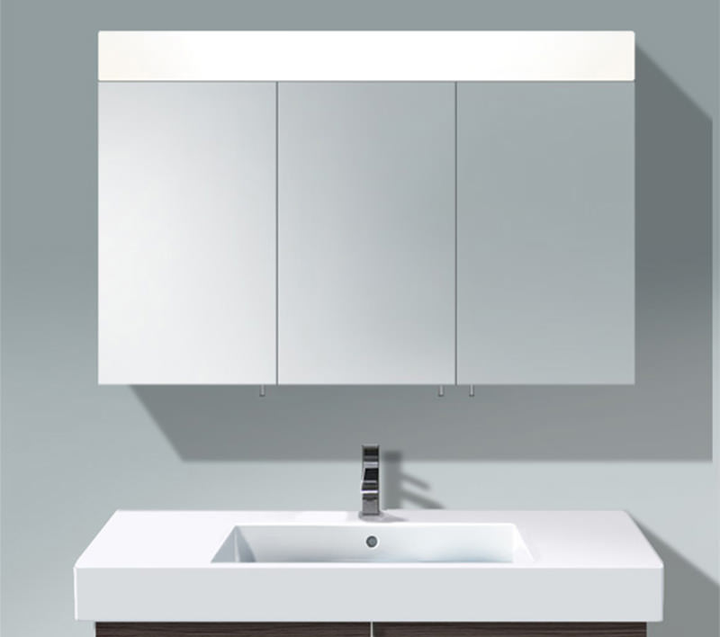 Duravit vero 1200mm 3 door mirror cabinet with led for Bathroom cabinets led