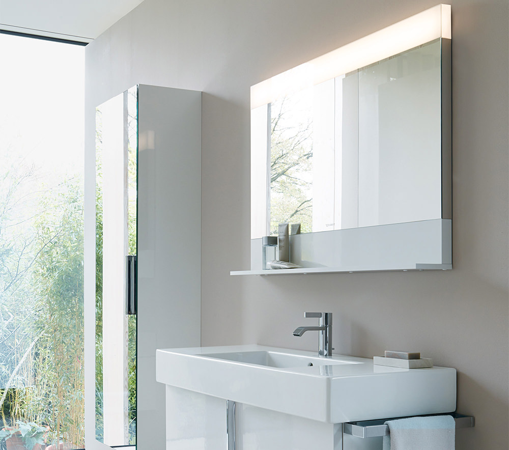 ... image of Duravit Vero 450 x 800mm Mirror With Light And Below Shelf