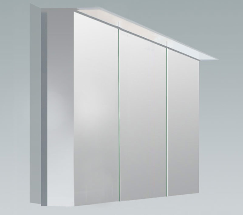 Duravit x large 1200mm 3 door mirror cabinet with led - Mirrored bathroom cabinet with lights ...
