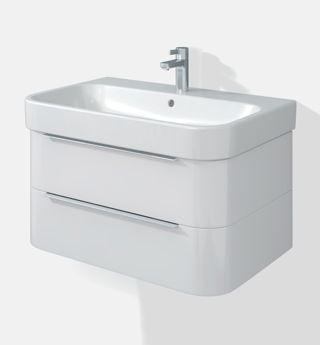 Duravit Wall Hung Basin : Duravit Happy D2 Two Drawers 625mm Unit With Basin - H26364