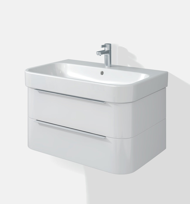 Duravit happy d2 two drawers 775mm unit with basin h26365 - Duravit bathroom furniture uk ...