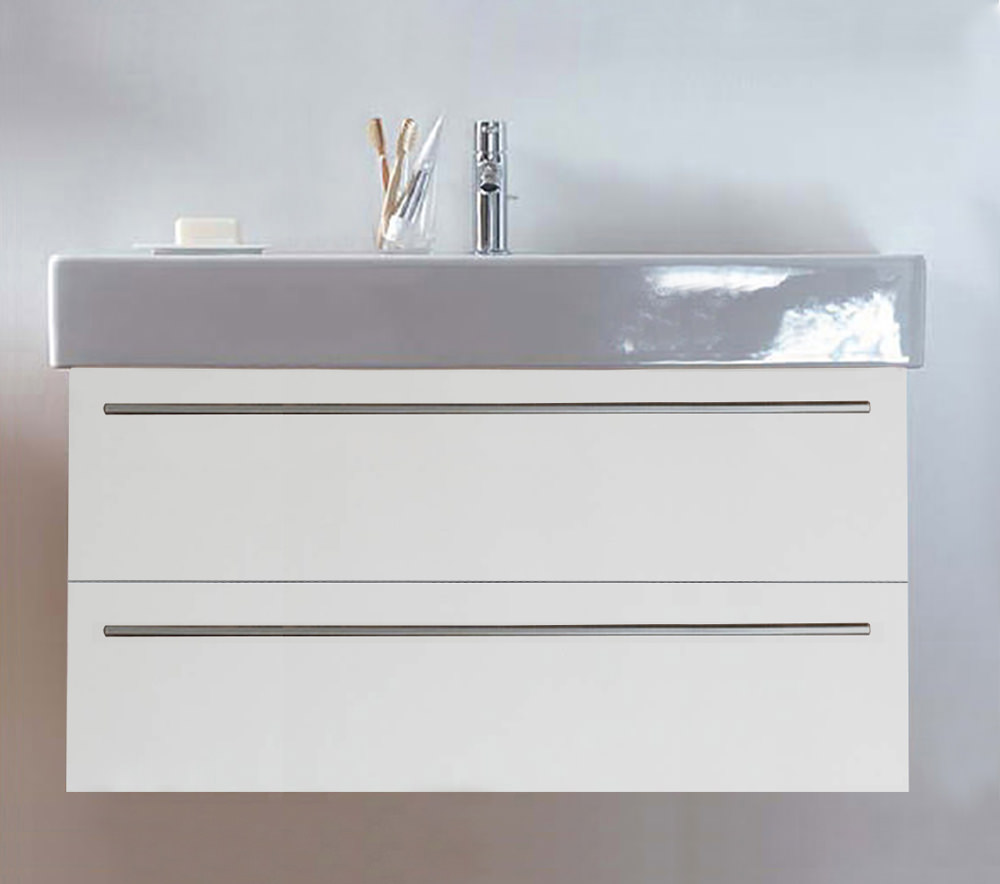 Duravit x large 1000mm 2 drawer unit with 1050mm vero for 1000mm kitchen drawer unit