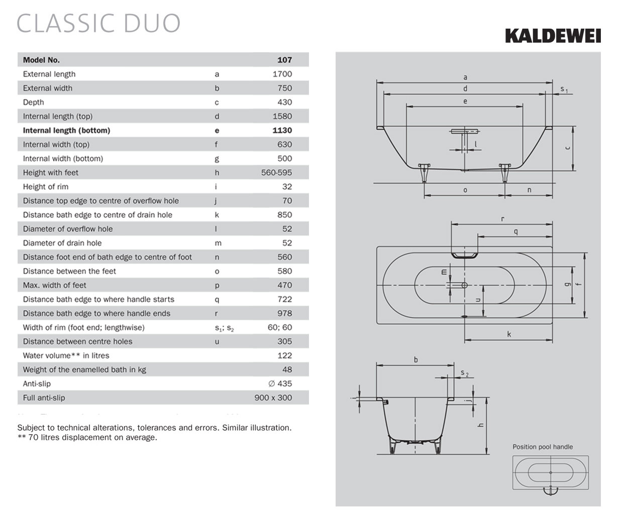 Kaldewei Classic Duo 20 Double Ended 20 x 20mm Steel Bath