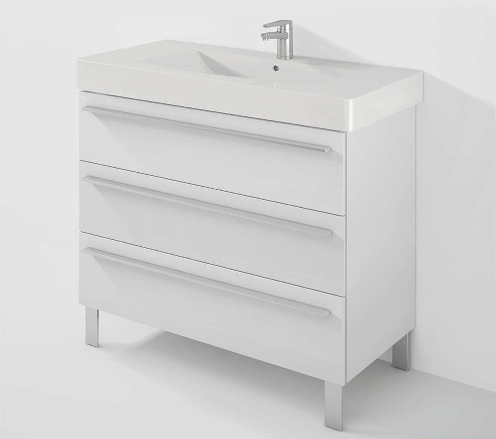 X large 1000mm 3 drawer unit with 1050mm vero basin for 1000mm kitchen drawer unit