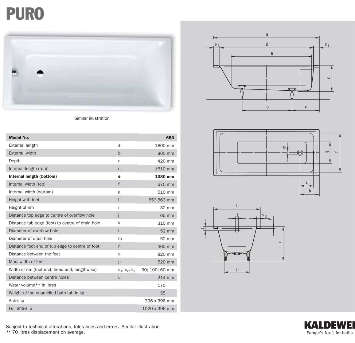 Kaldewei Puro 20 Single Ended 20 x 20mm Steel Bath