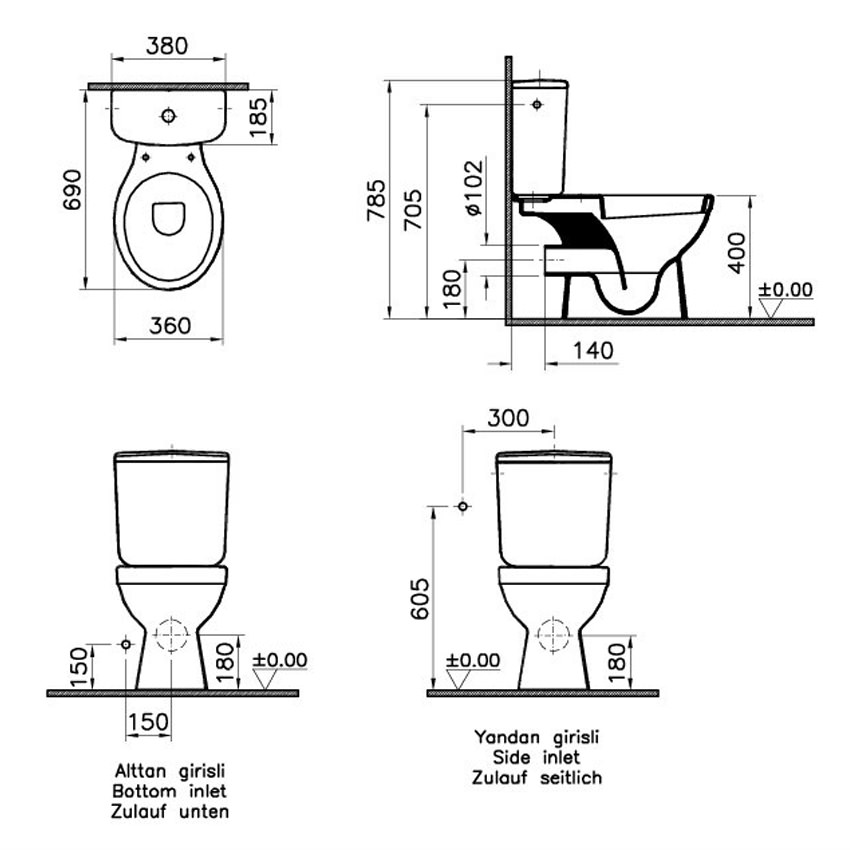 uk toilet seat sizes. VitrA Milton Close Coupled WC Cistern Toilet Seat  5111L003 0075