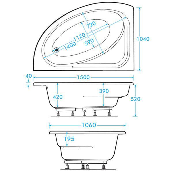 Trojan orlando white left handed 1500x1020mm offset corner for Large bathtub dimensions