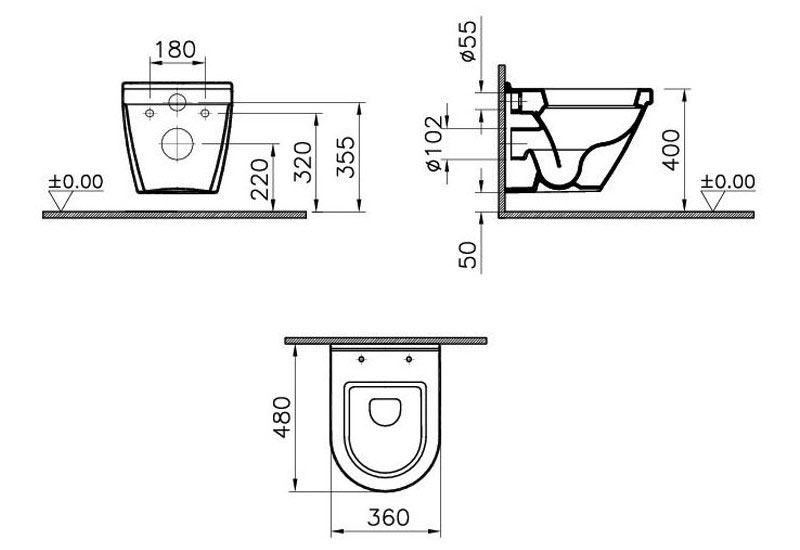 S50 Wall Hung Short Projection Wc Pan 5320l003 0075