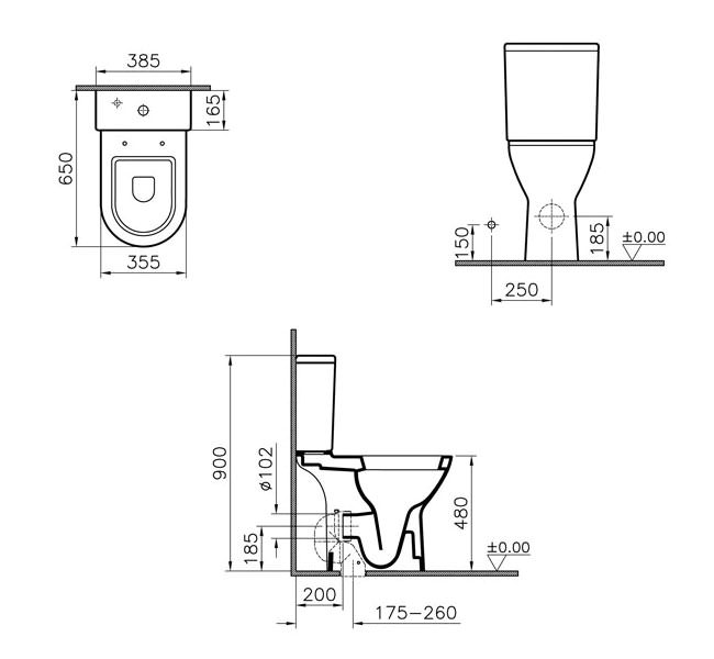 Vitra S50 Comfort Height Close Coupled Toilet With Cistern