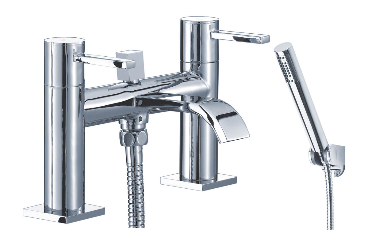 Mayfair Wave Bath Shower Mixer Tap With Shower Kit Chrome