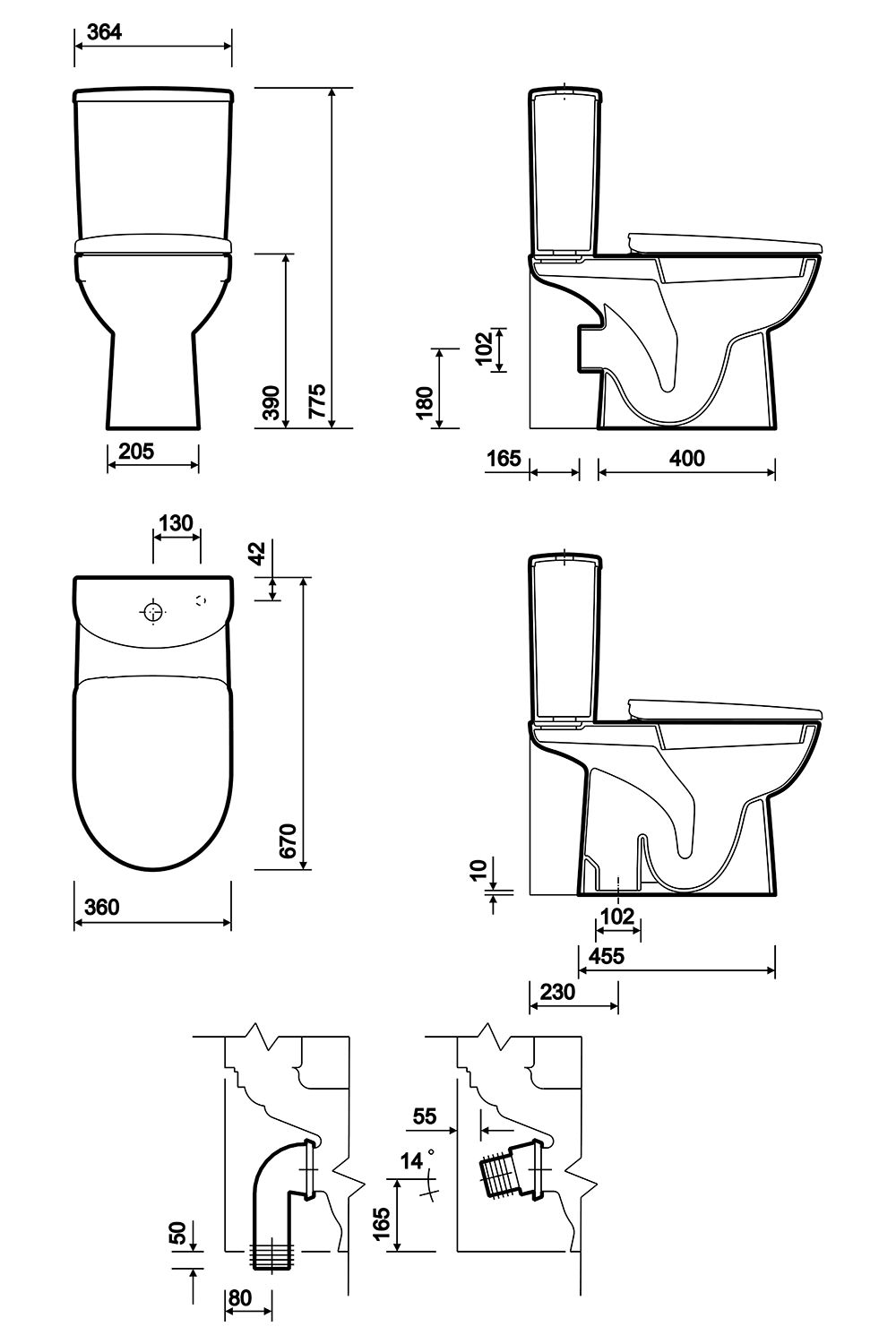 Twyford E100 Round Standard Close Coupled Wc Pan 670mm And