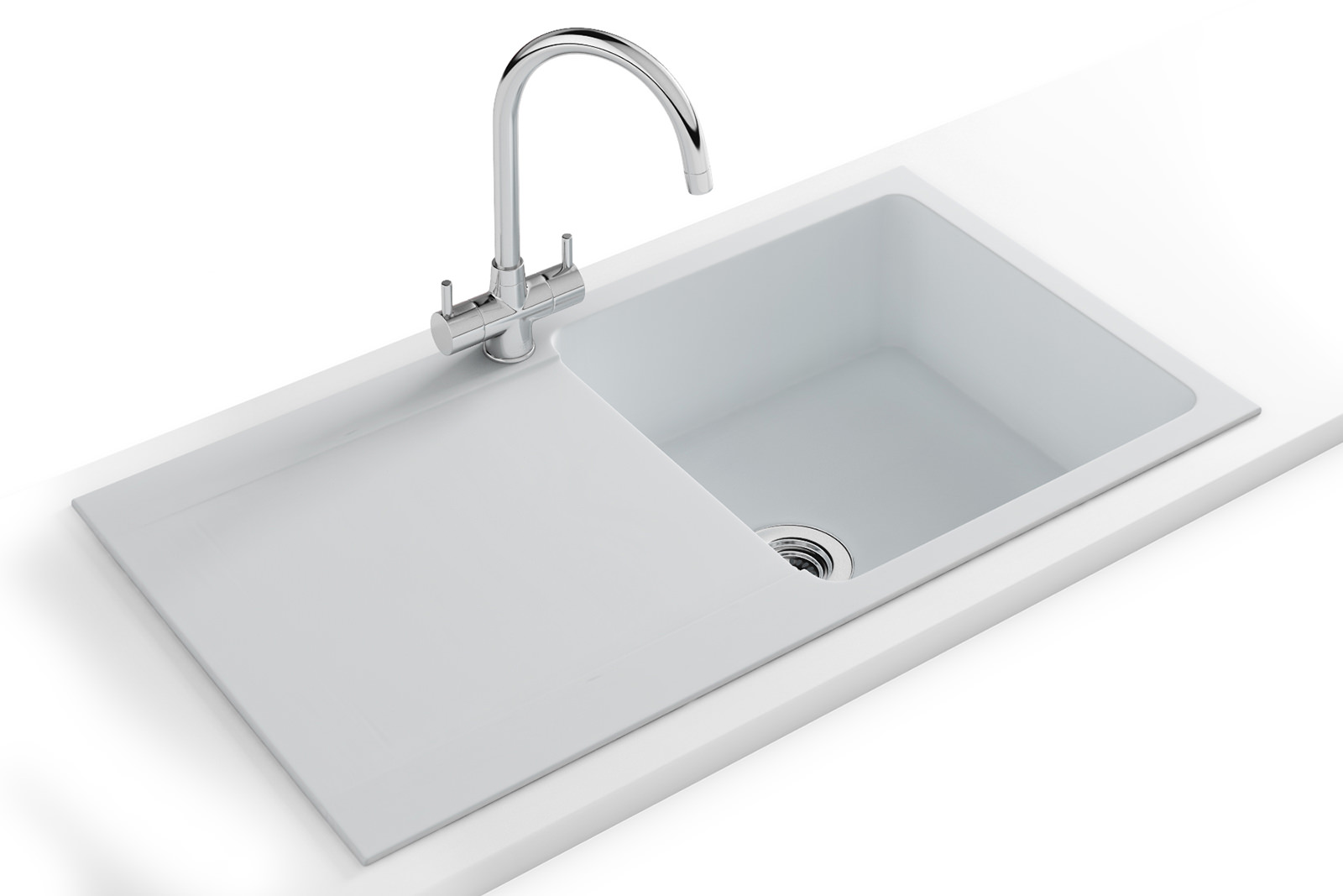... Orion Propack OID 611-94 Tectonite Polar White Kitchen Sink And Tap