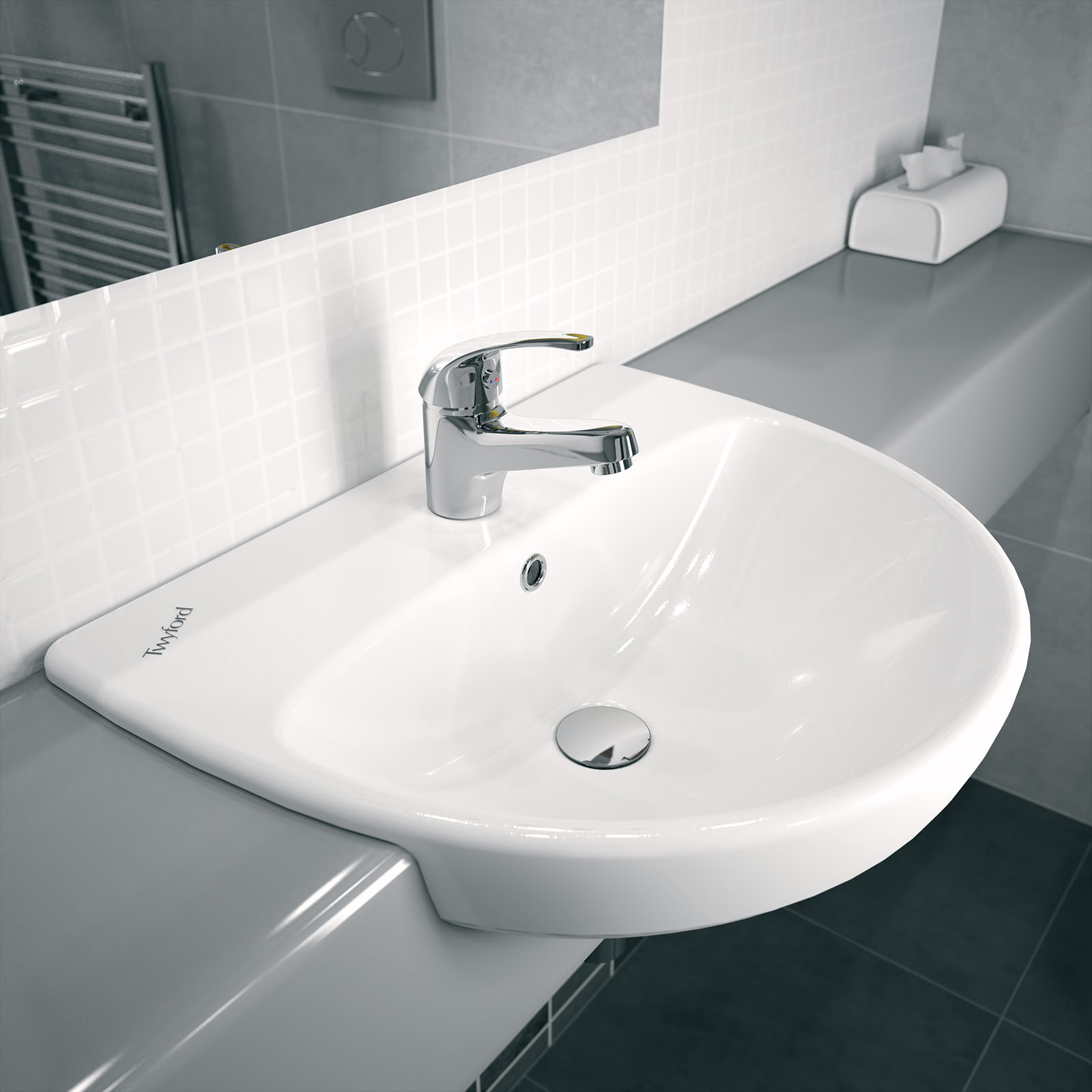 Twyford E100 Round 550 X 440mm Semi Recessed Basin