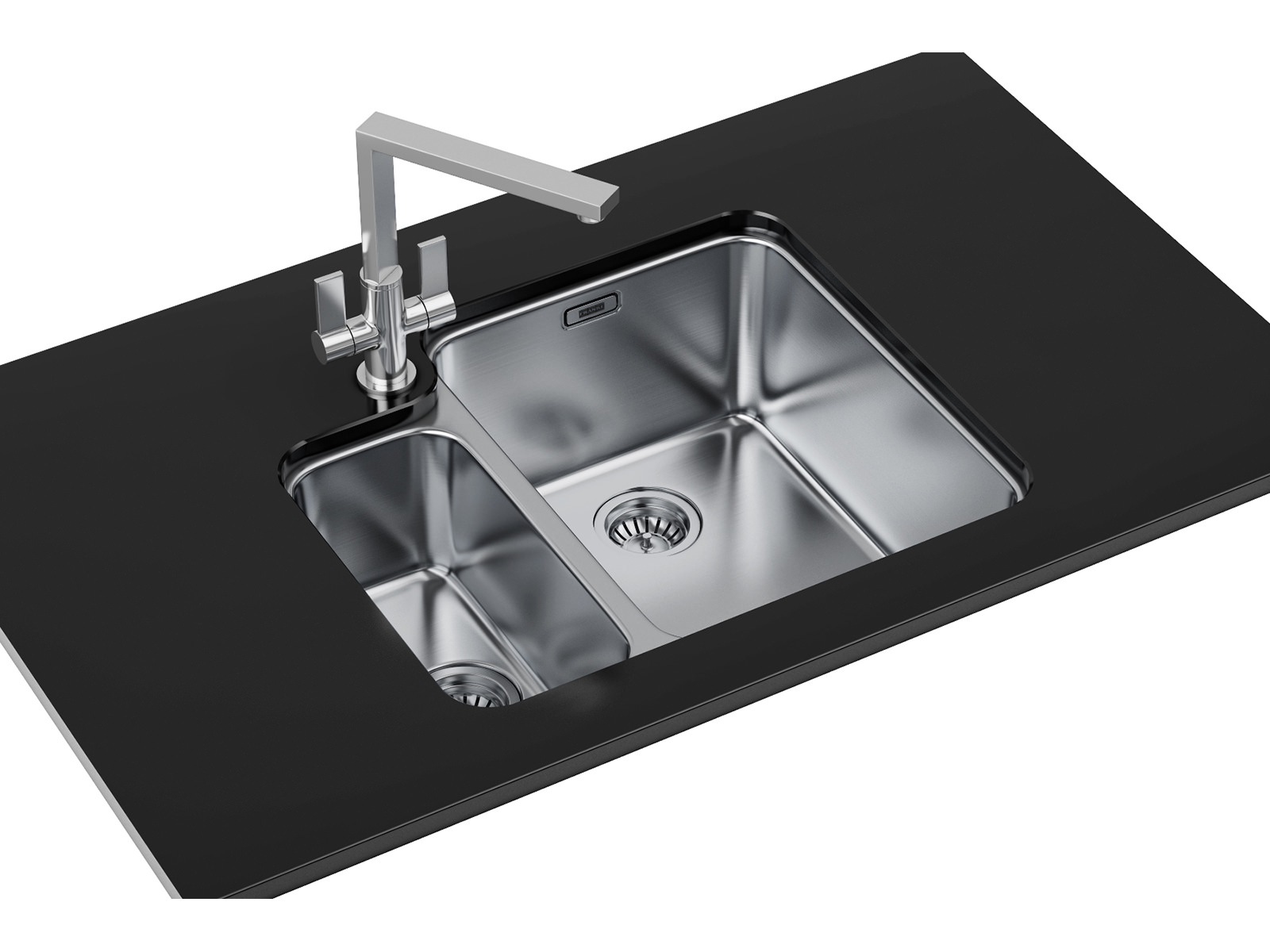 Franke hydros dp hdx 160 34 15 stainless steel sink and for Designer stainless steel sinks