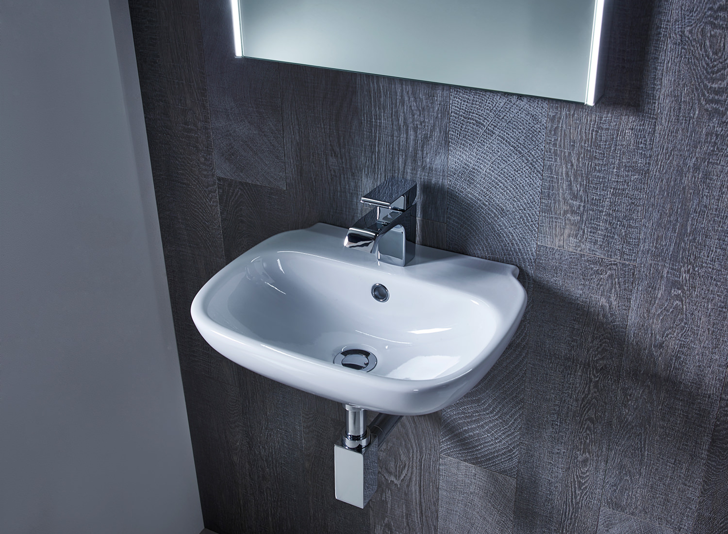 Roper rhodes note 450mm wall mounted or countertop basin for Wall mounted bathroom countertop