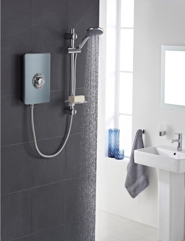 Vado Elegance Grey And Chrome Electric Shower 8 5kw Els