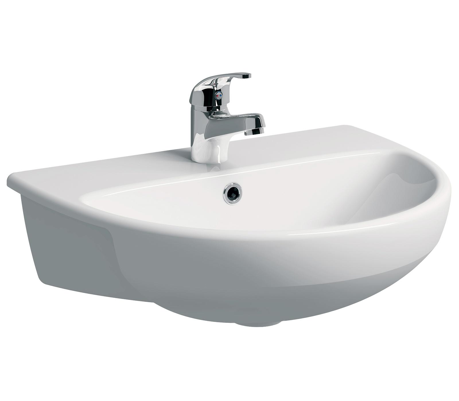 Twyford E100 Round 550 X 440mm Semi Recessed Basin