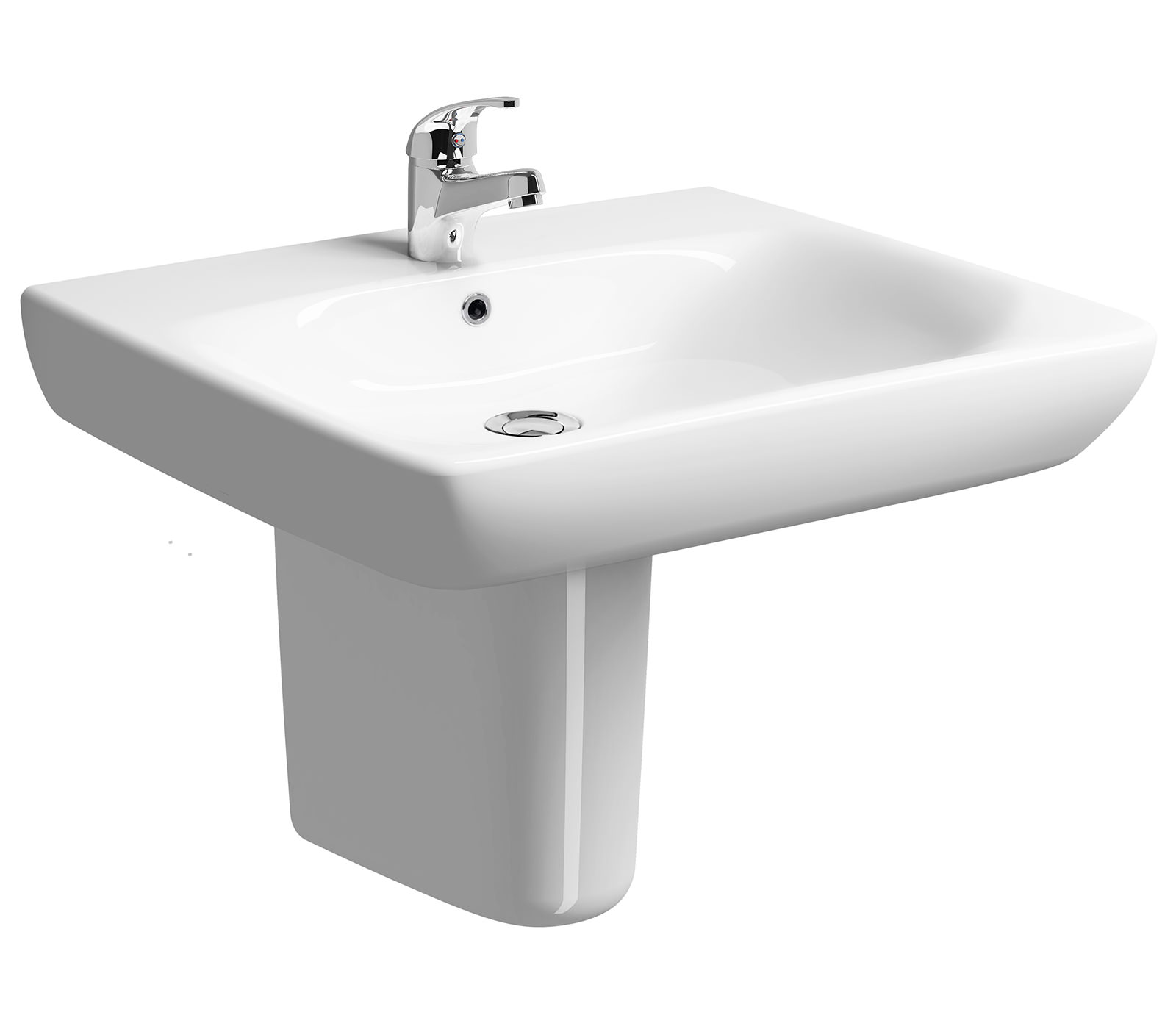 Twyford E100 Square 650x550mm Less Abled Basin With Semi