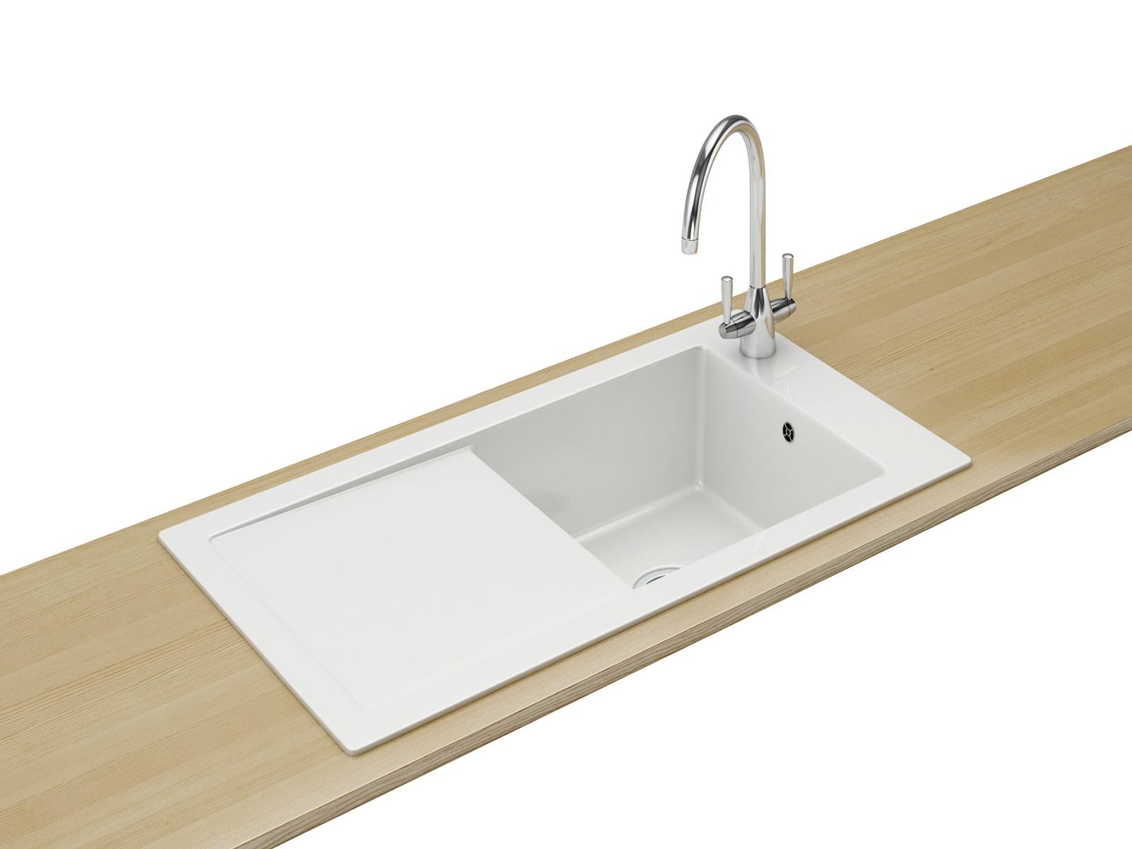 Franke Inset Sink : Franke Aspen ANK 611 Ceramic White 1.0 Bowl Inset Sink 124.0318.857