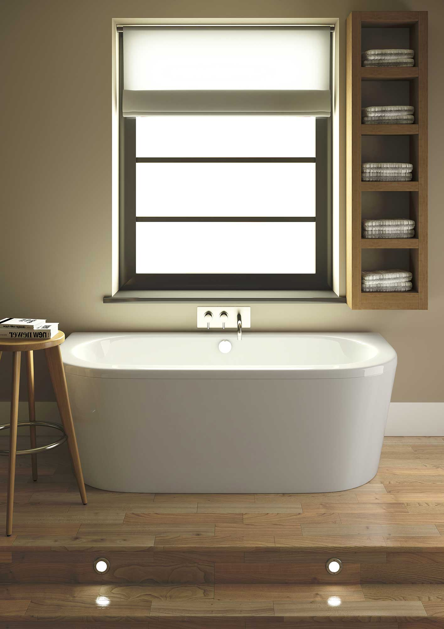 Lauren Shingle 1700 X 800mm Double Ended Back To Wall Bath With Panel Nbh020