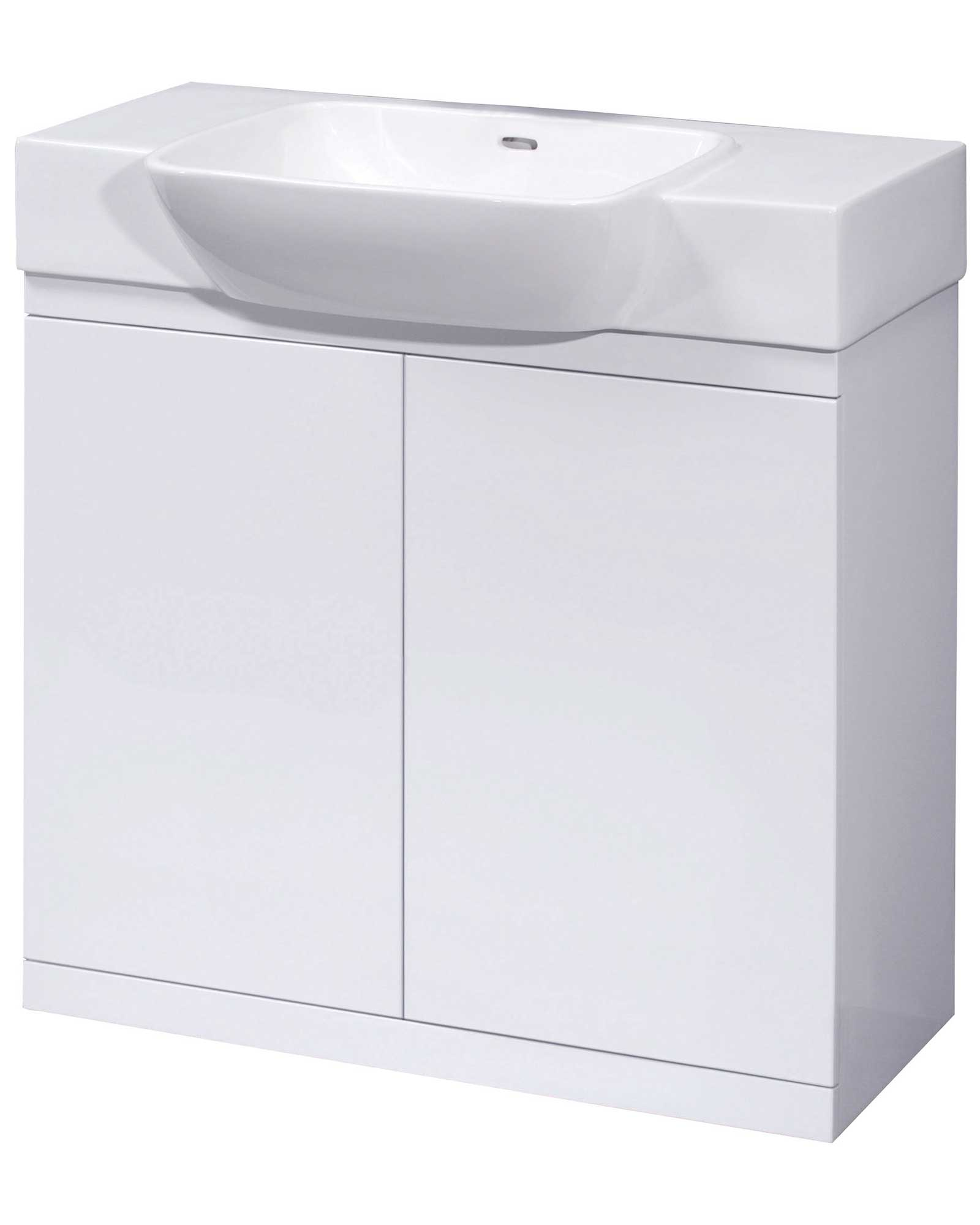 Lauren lux white floor standing 2 door cabinet and basin 800mm for Bathroom cabinets 800mm high