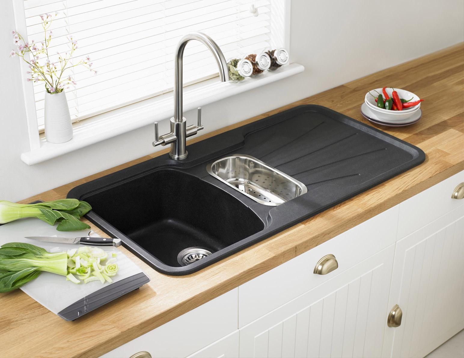 astracast korona 1 5b composite rok metallic inset sink. Black Bedroom Furniture Sets. Home Design Ideas