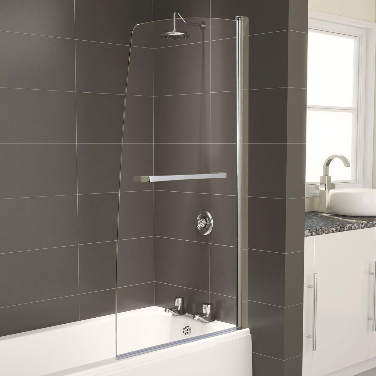 aqualux aqua 5 half frame bath screen 800 x 1500mm