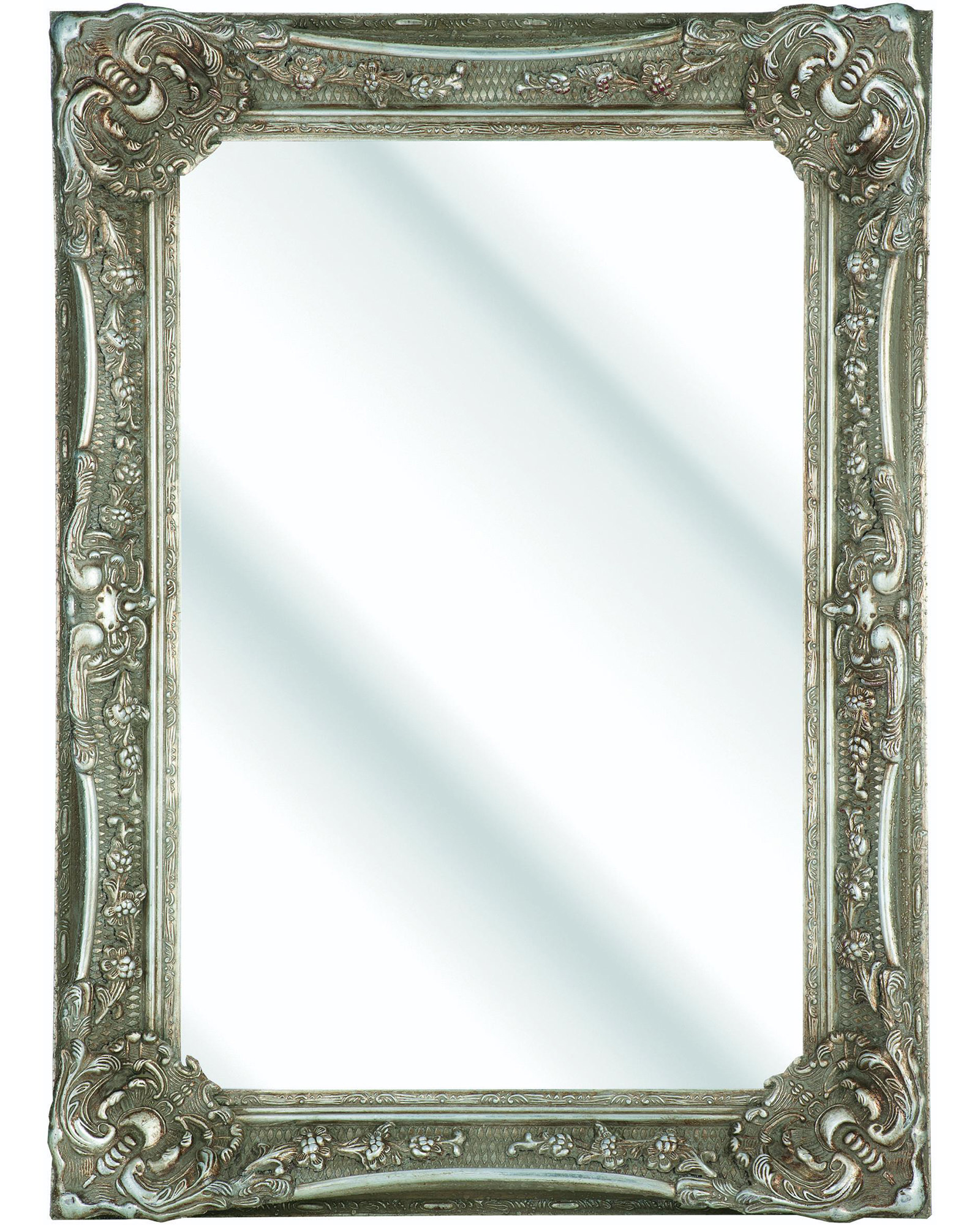 Heritage bayswater vintage silver wooden framed mirror 790x1090mm for Silver framed bathroom mirrors