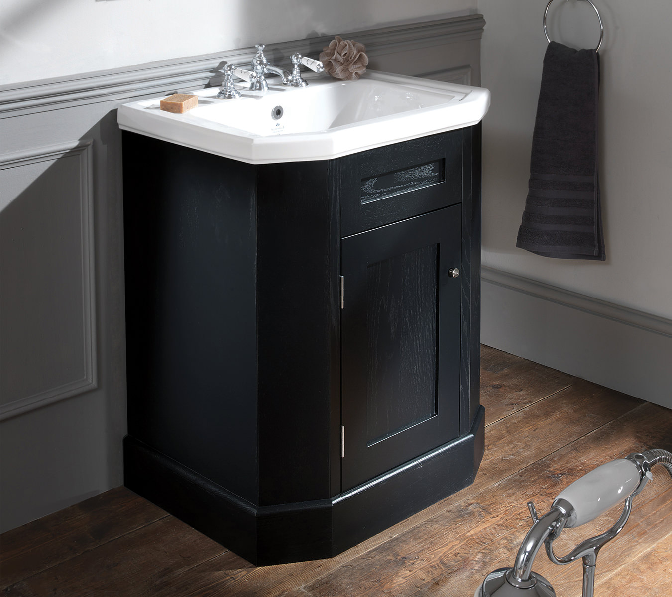 Silverdale Empire 700mm Ebony Black Single Door Vanity Cabinet Em700cabblk